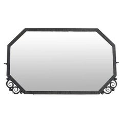 French Art Deco Wrought Iron Mirror, 1930