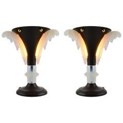 Petitot French Art Deco Pair of Table Lamps, circa 1930