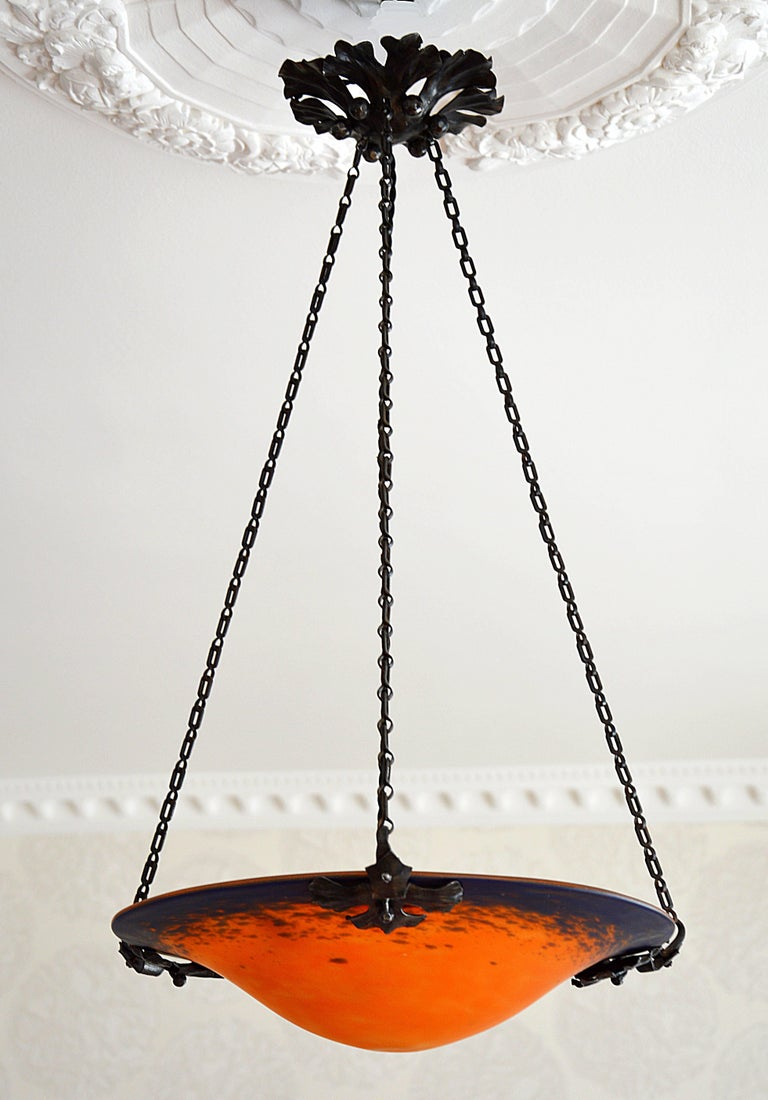 Glass Charles Schneider French Art Deco Pendant Chandelier, Early 1920s For Sale