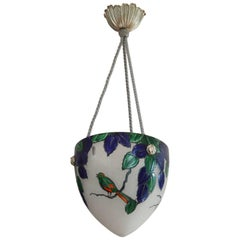 Leune French Art Deco Enameled Bird Pendant Chandelier, 1925