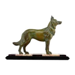 German Shepherd Sculpture by Louis-Albert Carvin, 1930