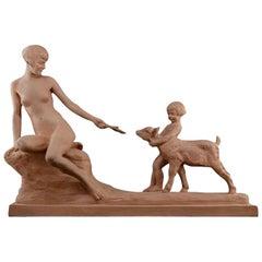 Louis Riché French Art Deco Woman, Child and Kid Terracotta Sculpture