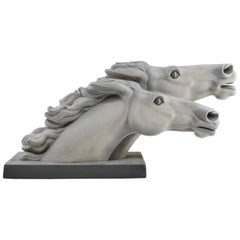 """Charles Lemanceau French Art Deco Horse Sculpture """"at the Winning Post"""", 1930s"""