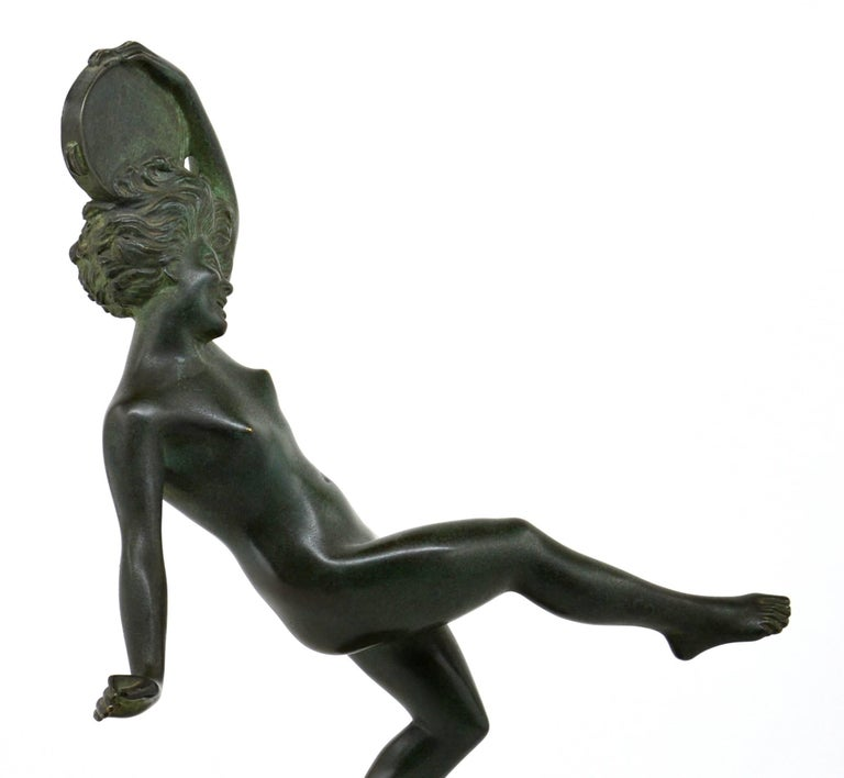 Robert Bousquet French Art Deco Bronze Dancer Sculpture, 1925 In Good Condition For Sale In Saint-Amans-des-Cots, FR