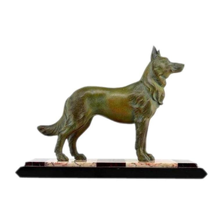 German Shepherd Sculpture by Louis-Albert Carvin, 1930 For Sale