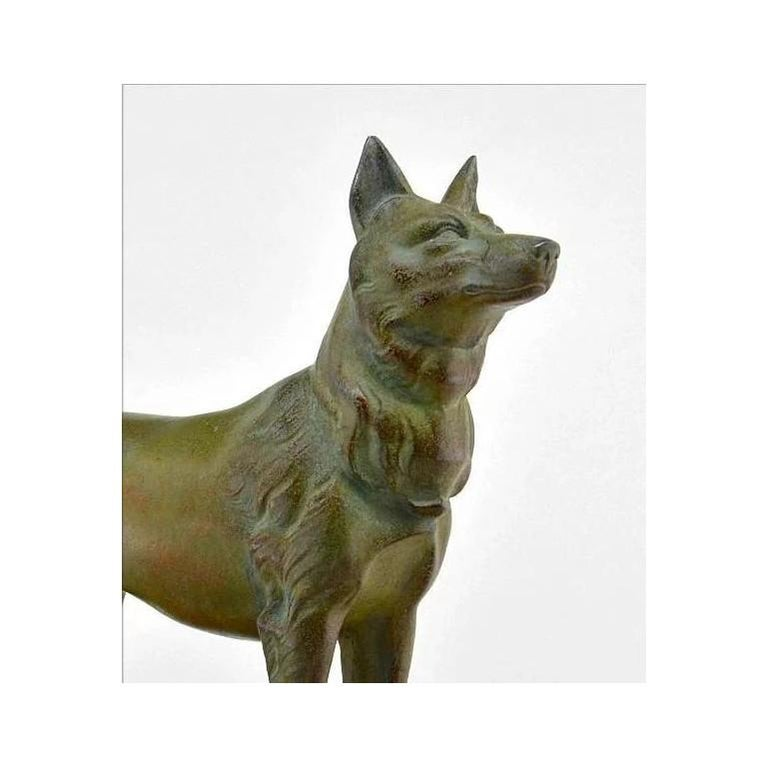 German shepherd sculpture by Louis-Albert Carvin 1930. Spelter dog and marble base. Signed