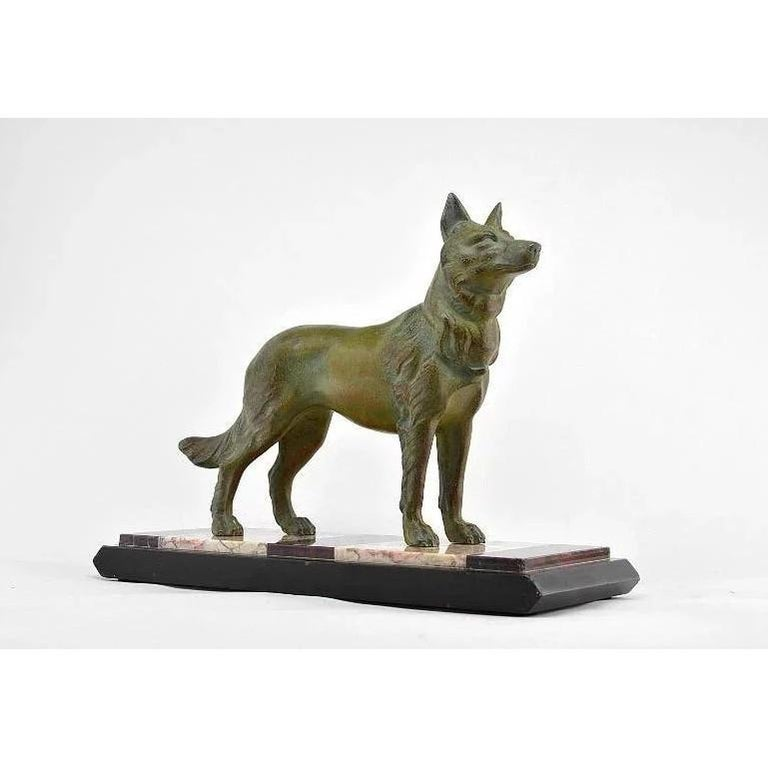 French German Shepherd Sculpture by Louis-Albert Carvin, 1930 For Sale