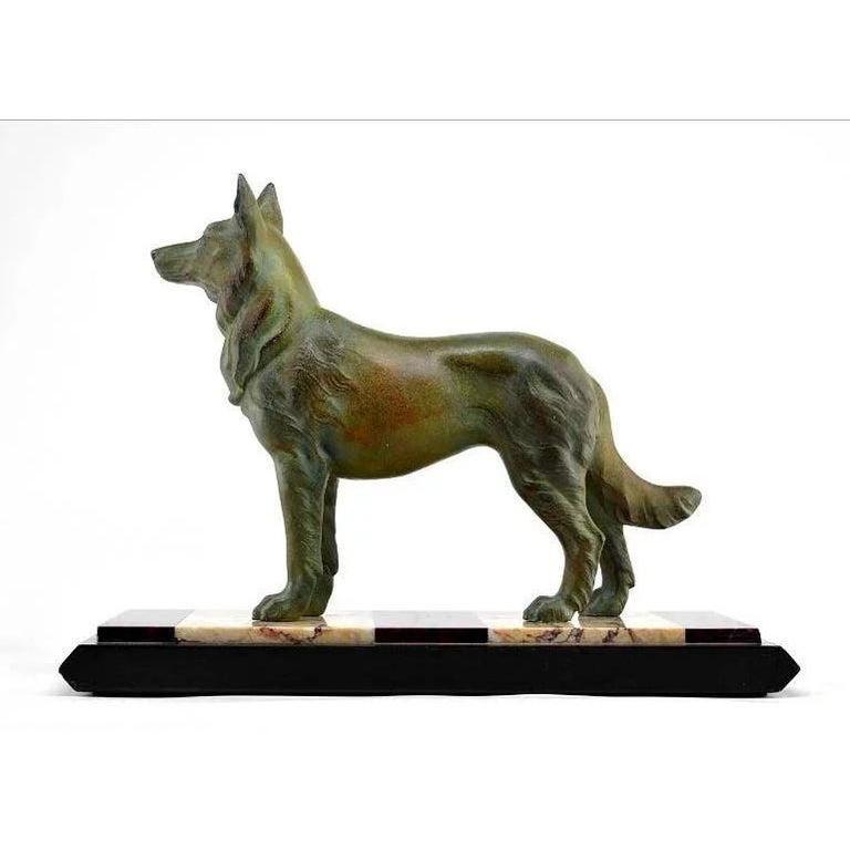 Mid-20th Century German Shepherd Sculpture by Louis-Albert Carvin, 1930 For Sale