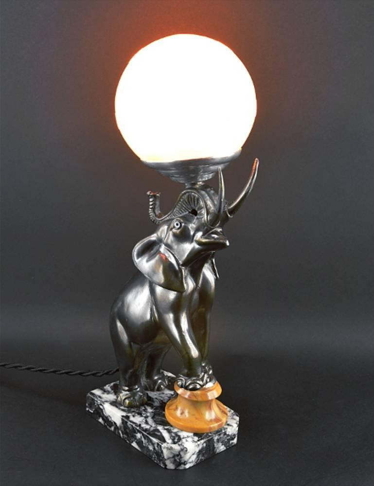 French Art Deco Elephant Table Lamp Or Night Light
