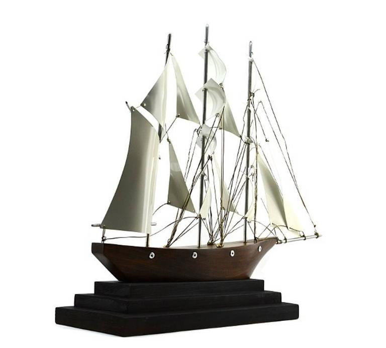 Art Deco Ship: Large French Art Deco Three-Master Ship Model, 1930s For