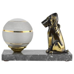 French Art Deco Fox Terrier Table Lamp or Night-Light, 1930s