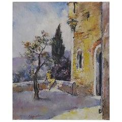 Cesar Vilot French Art Deco Oil on Canvas Landscape/Lady, 1930