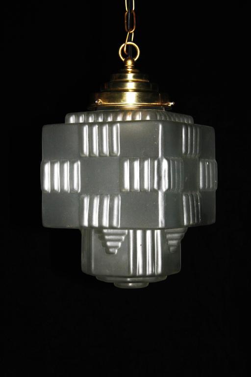 1940s Glass Art Deco Pendant Light At 1stdibs