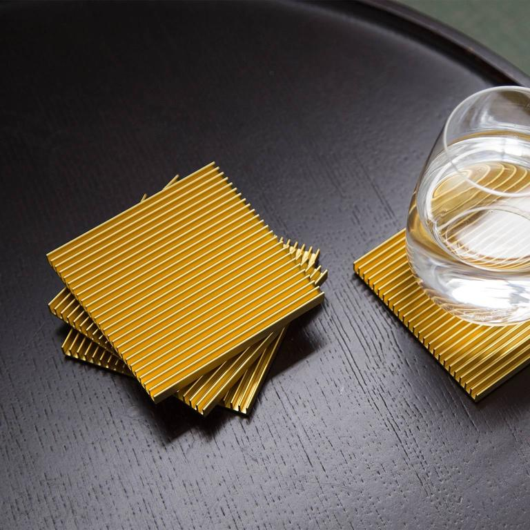 Fin Coasters from Souda, Set of Four, Gold Anodized Aluminium, Modern, Minimal 4