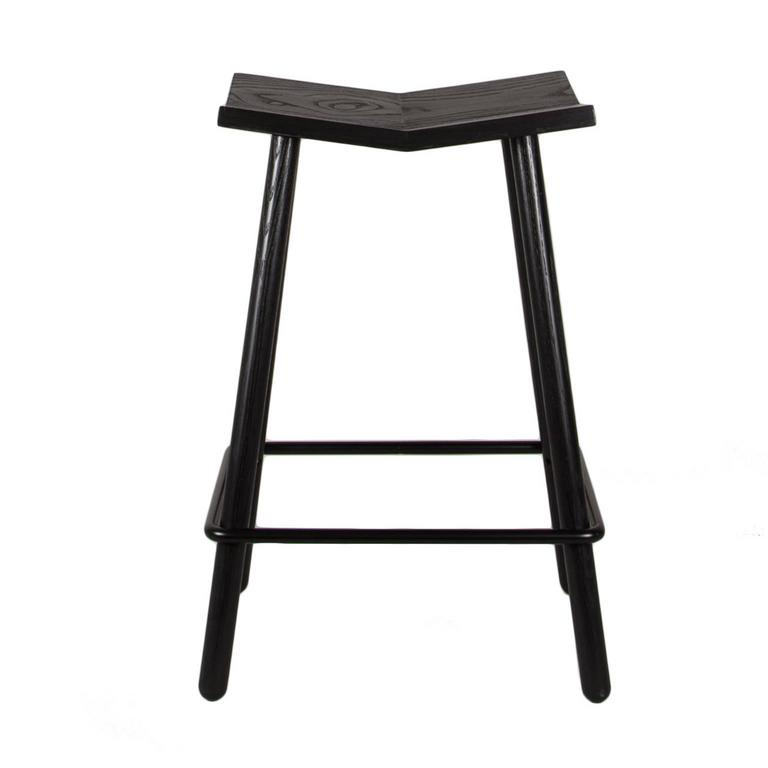 Modern Black Mitre Wooden Stool from Souda, Contemporary Counter-Height Stool 3