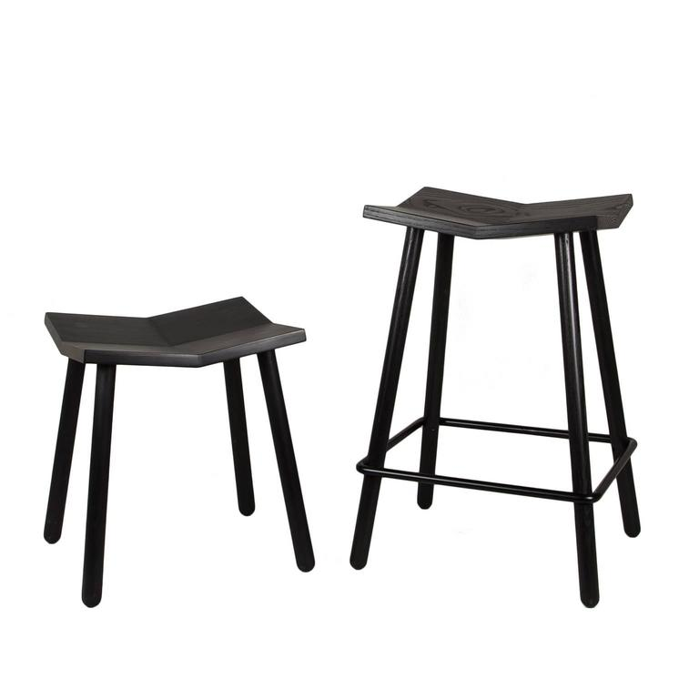 Modern Black Mitre Wooden Stool from Souda, Contemporary Counter-Height Stool 4