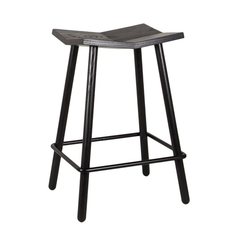 Modern Black Mitre Wooden Stool from Souda, Contemporary Counter-Height Stool 2