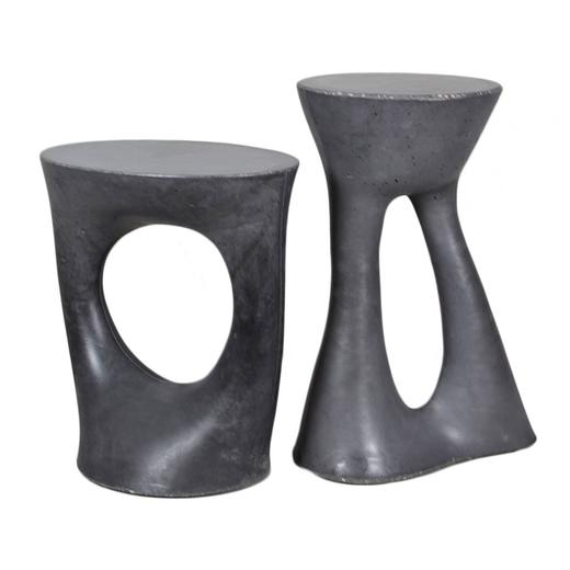 Pair of Charcoal Kreten Side Tables from Souda, Black Modern Concrete End Table