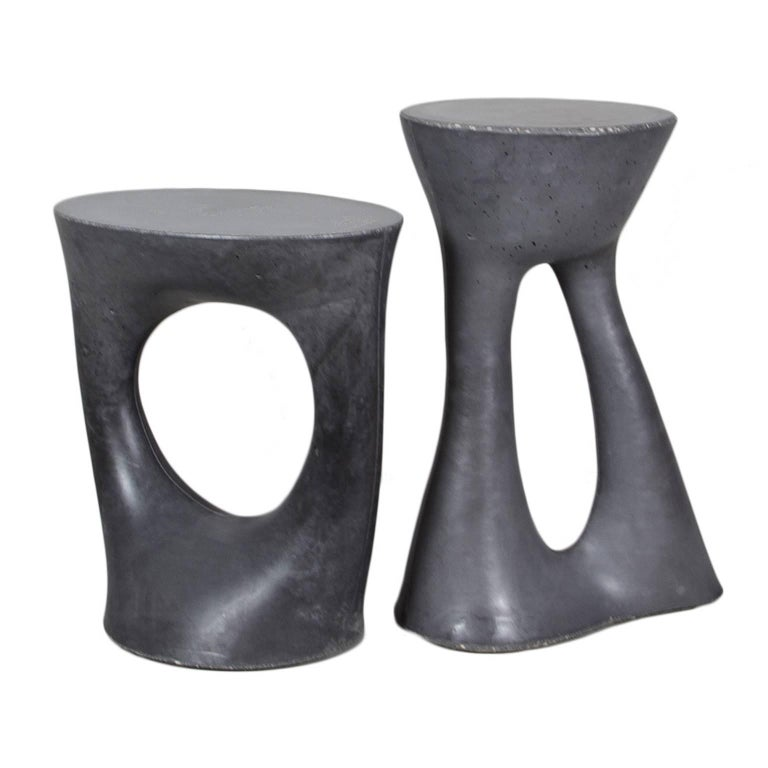 Pair of Charcoal Kreten Side Tables from Souda, Made to Order For Sale
