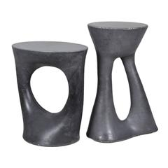 Pair of Charcoal Kreten Side Tables, Black Modern Concrete End Tables