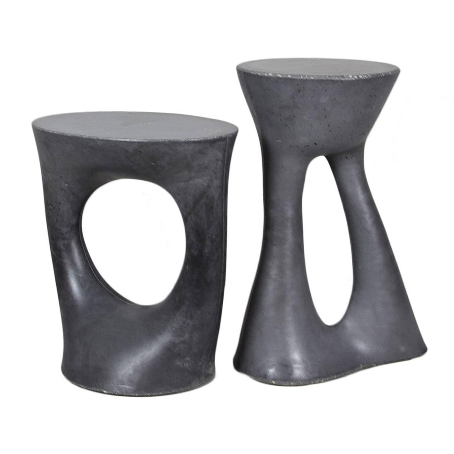 Modern black side table - Pair Of Charcoal Kreten Side Tables From Souda Black Modern Concrete End Table For Sale At 1stdibs