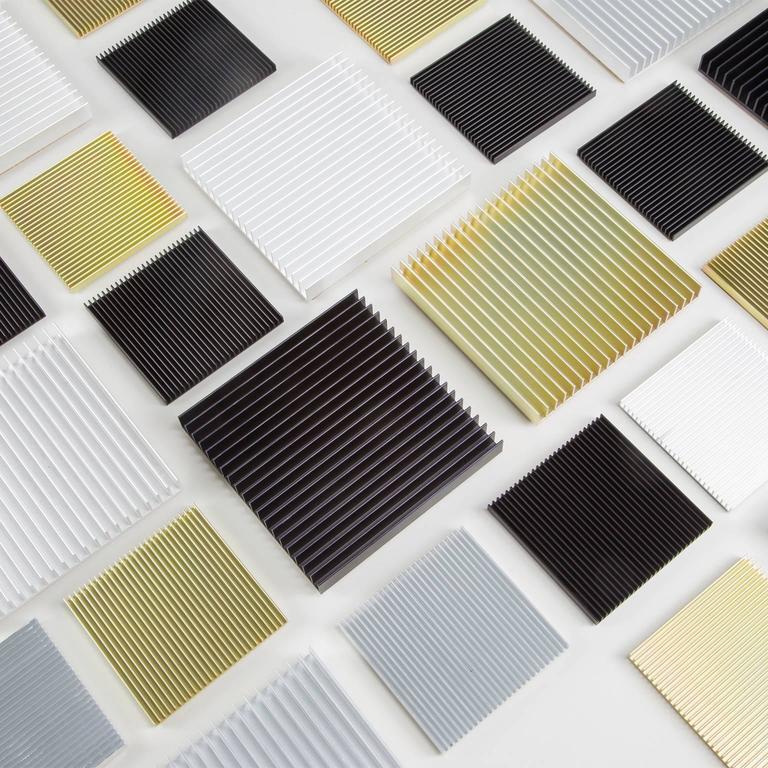 Modern Fin Coasters from Souda, Set of Four, Black Aluminium, Contemporary, Minimalist For Sale