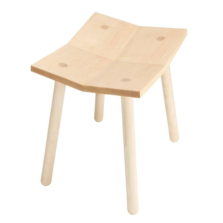 Modern Customizable Mitre Stool from Souda, Low, Maple, Made to Order For Sale