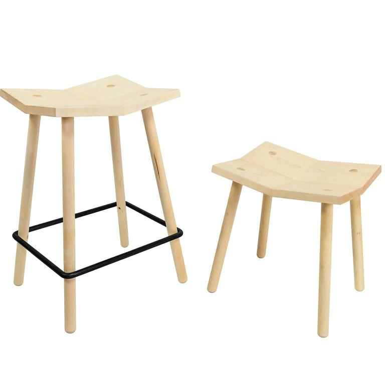 American Customizable Mitre Stool from Souda, Low, Maple, Made to Order For Sale