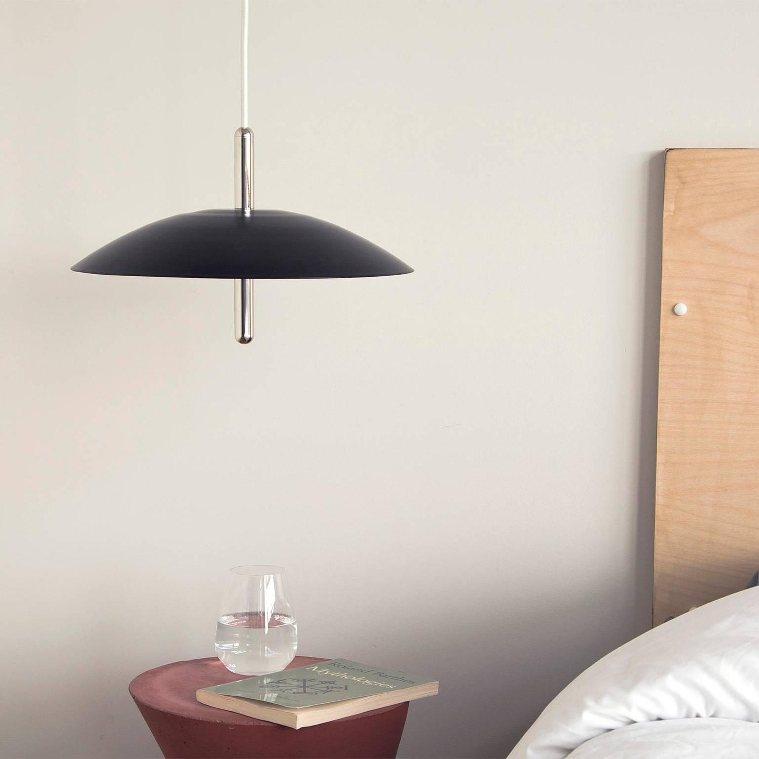 signal pendant light black with nickel accents modern