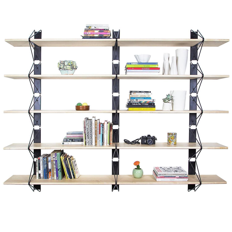 Strut Shelving System Modern Wood Wall Shelf With Black