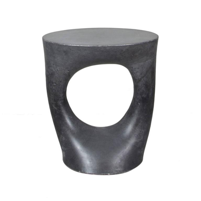 Short Charcoal Kreten Side Table From Souda, Modern Black Concrete End Table  2