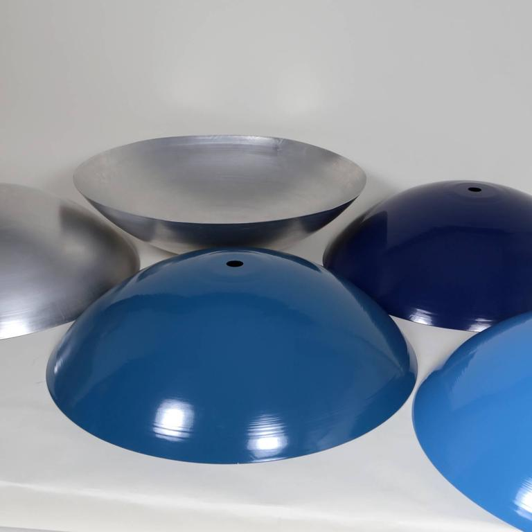 Customizable Huge Industrial Dome Pendant Lamp, Sea Blue, Made to Order In New Condition For Sale In Brooklyn, NY