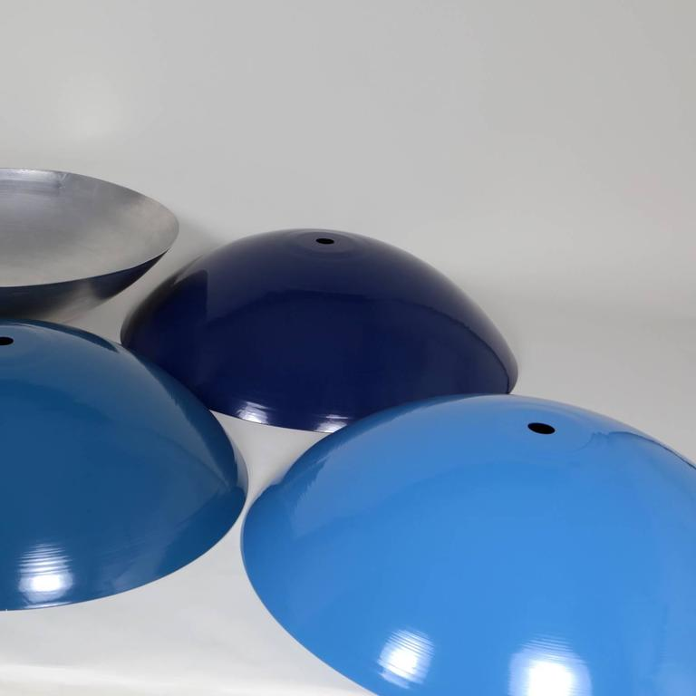Powder-Coated Customizable Huge Industrial Dome Pendant Lamp, Light Blue, Made to Order For Sale