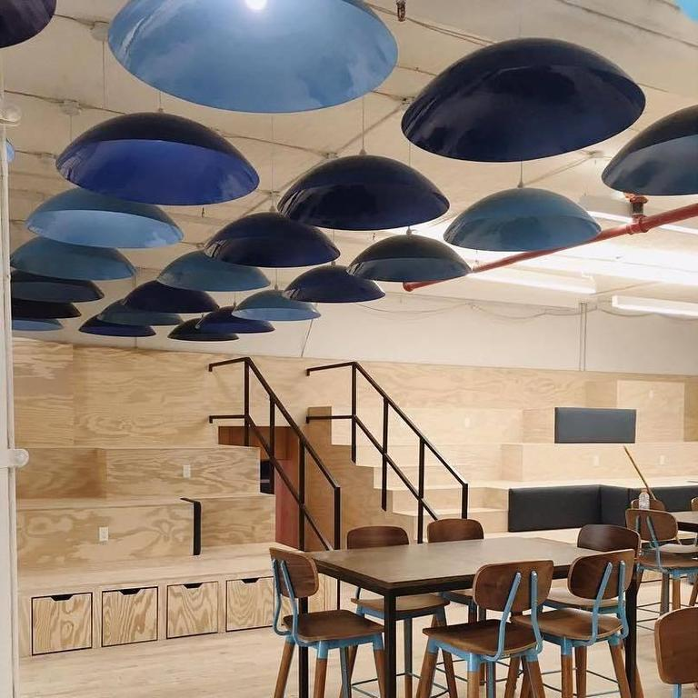 Powder-Coated Customizable Huge Industrial Dome Pendant Lamp, Dark Blue, Made to Order For Sale