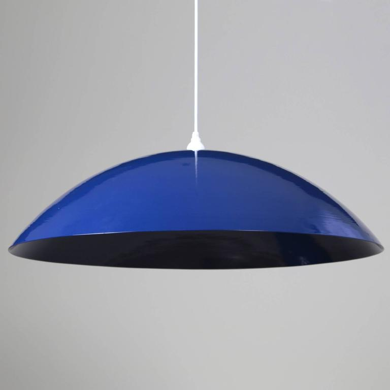 Mid-Century Modern Customizable Huge Industrial Dome Pendant Lamp, Dark Blue, Made to Order For Sale