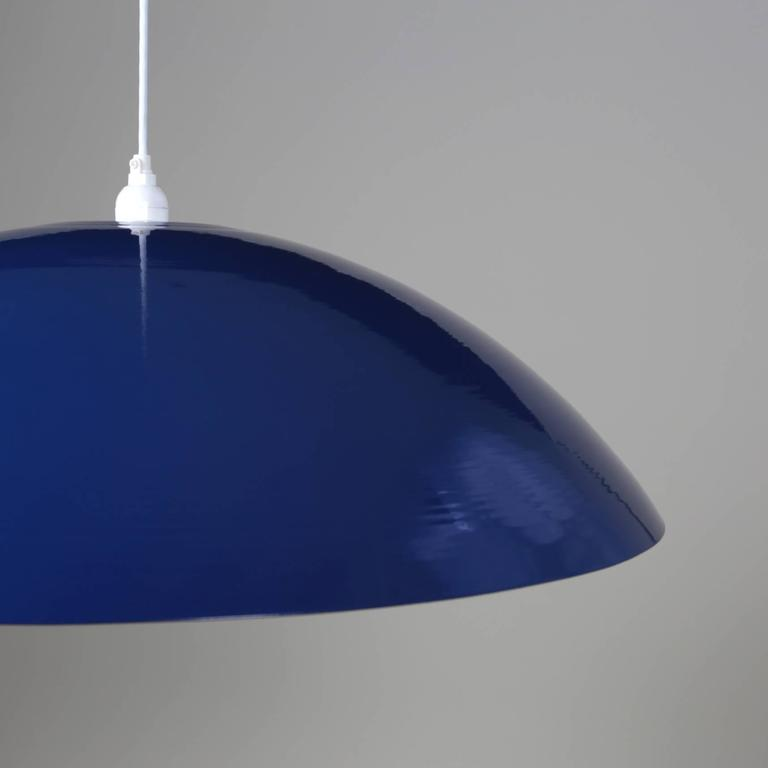 This listing is for a custom light fixture that Souda completed for a startup-company's office in NYC. Shown in this image shows a pendant with a dark blue finish.  These are huge and are a great statement piece. Made in the USA. Measures: 30