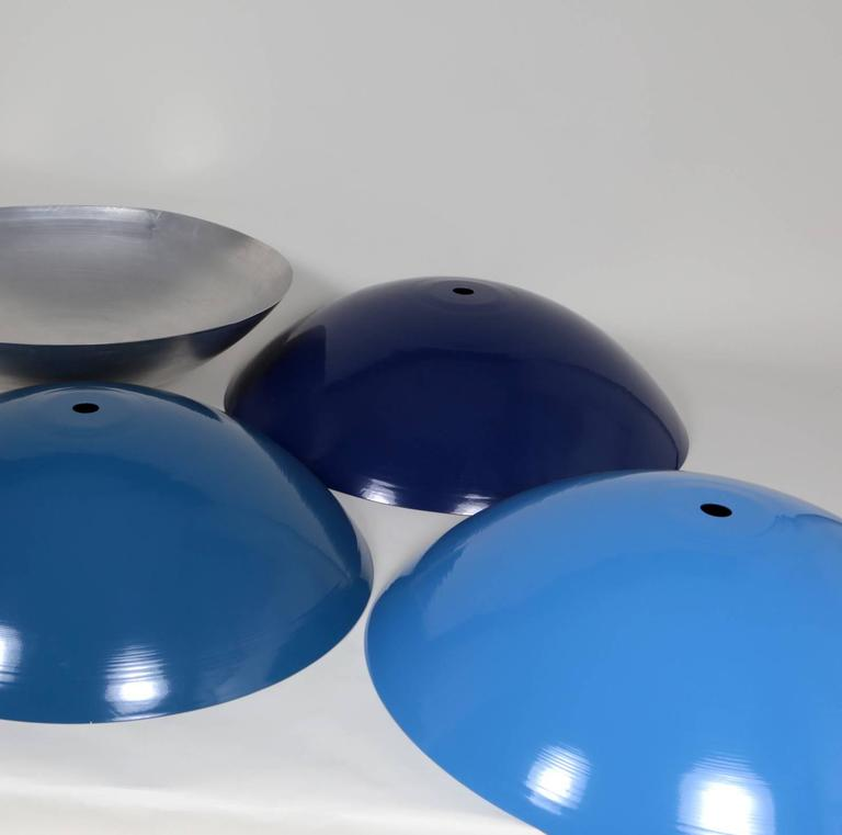 Contemporary Customizable Huge Industrial Dome Pendant Lamp, Dark Blue, Made to Order For Sale