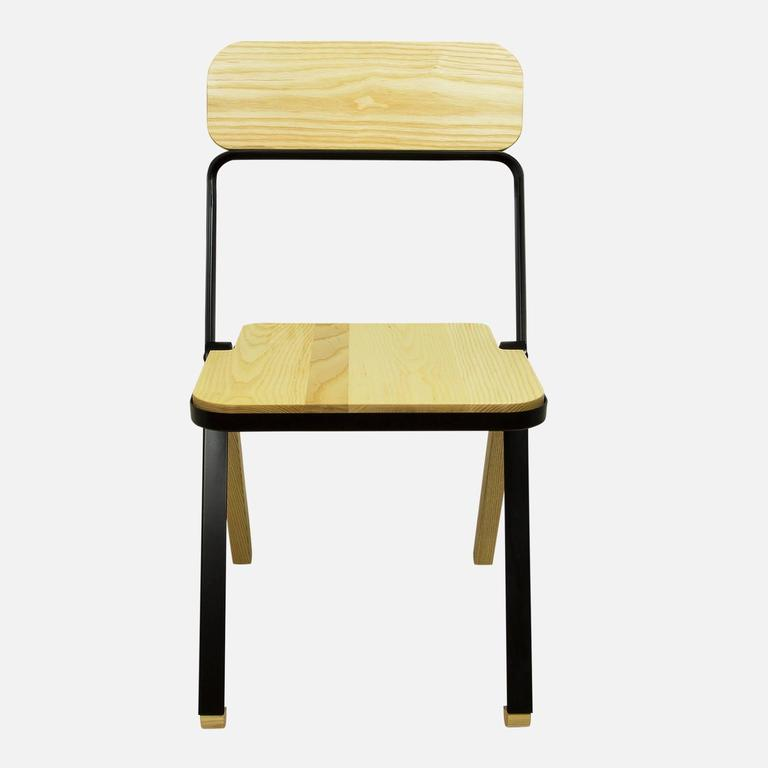 American Profile Folding Chair, Black and Natural, from Souda, Made to Order For Sale