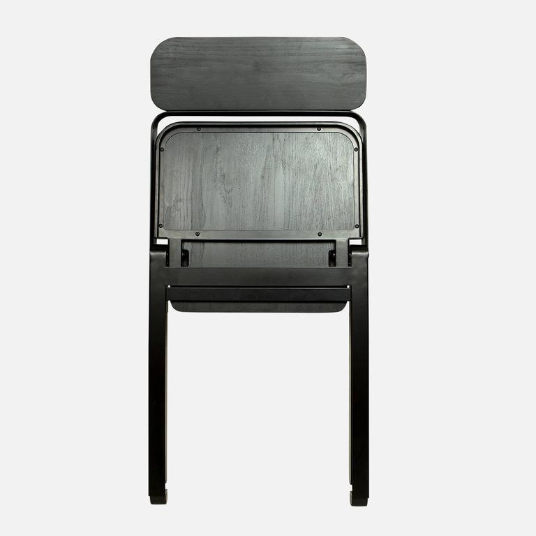 American Pair of Profile Folding Chairs, Black and Black from Souda, Made to Order For Sale