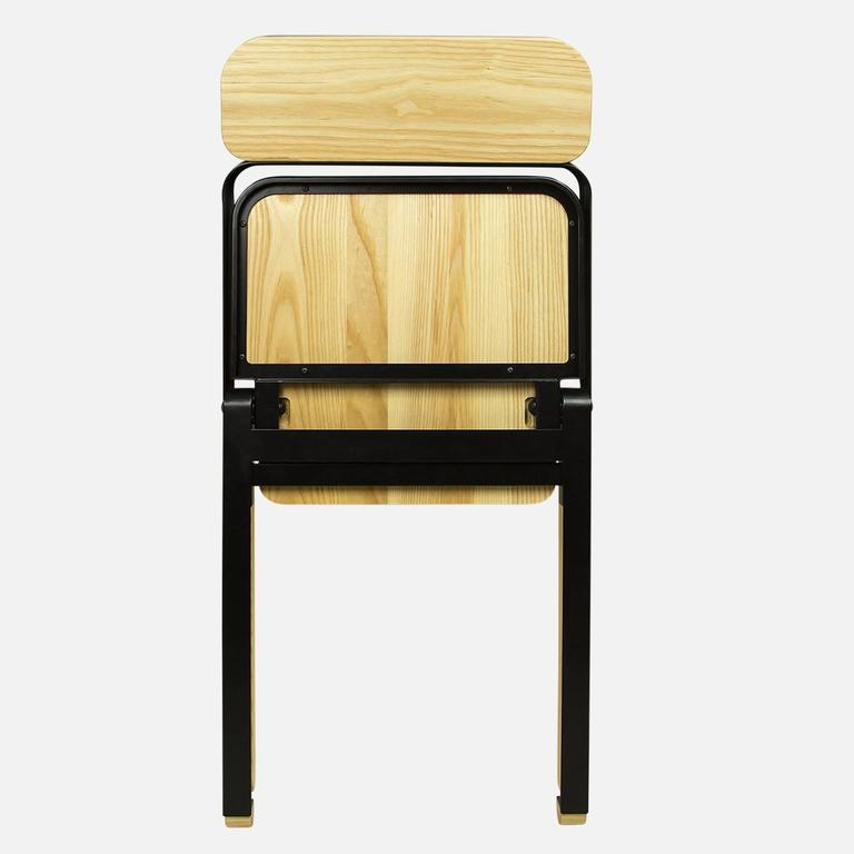 Pair of Profile Folding Chairs, Black and Natural from Souda, Made to Order For Sale 2