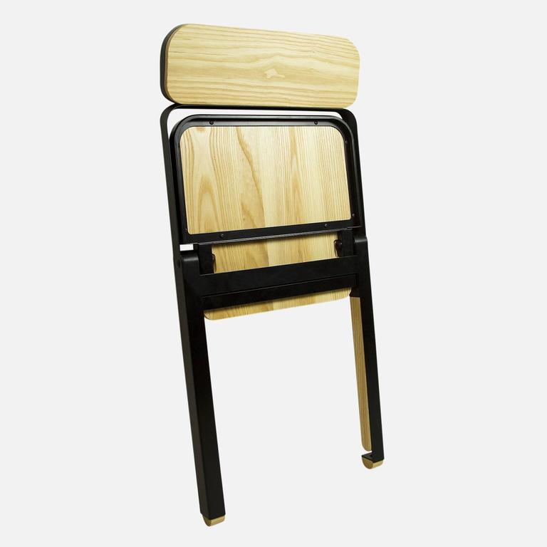 Pair of Profile Folding Chairs, Black and Natural from Souda, Made to Order In New Condition For Sale In Brooklyn, NY