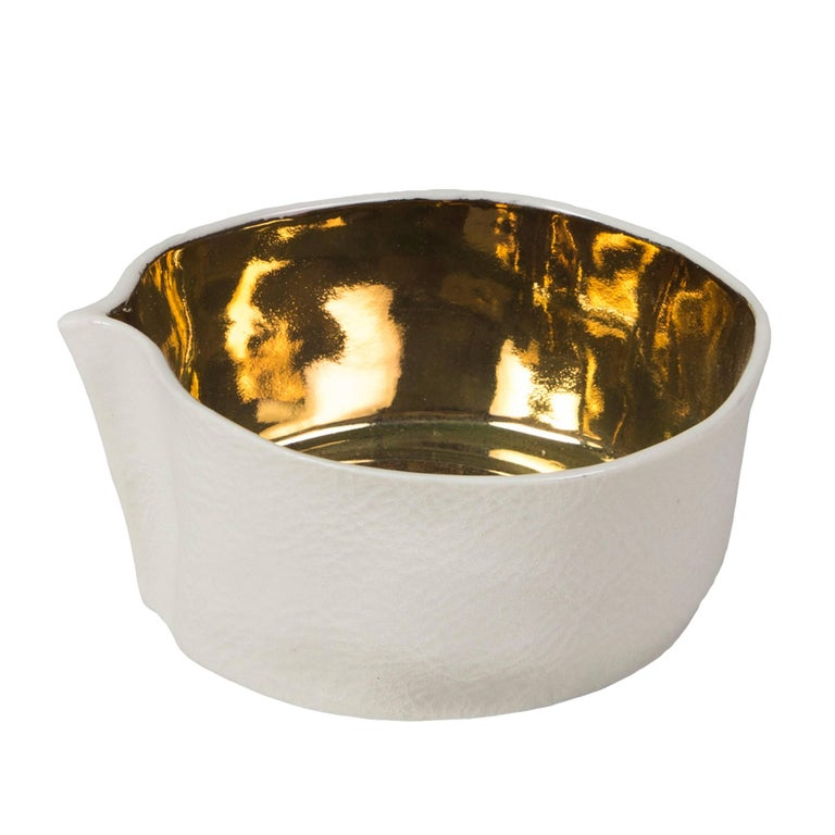 Modern Kawa Dish with Gold Glaze by Luft Tanaka, Made to Order For Sale