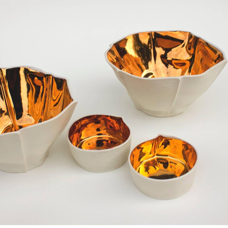 Kawa Dish with Gold Glaze by Luft Tanaka, Made to Order In New Condition For Sale In Brooklyn, NY
