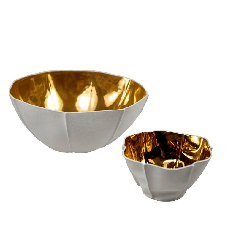 Modern Large Kawa Bowl with Gold Glaze by Luft Tanaka, Made to Order For Sale