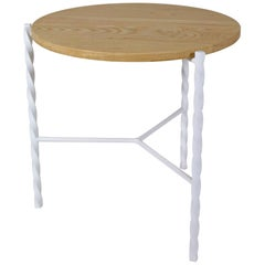 Customizable Von Iron Side Table from Souda, White w/ Natural Top, Made to Order