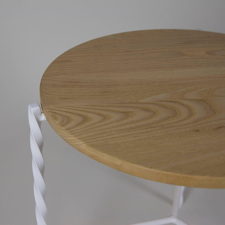 Modern Customizable Von Iron Side Table from Souda, White w/ Natural Top, Made to Order For Sale