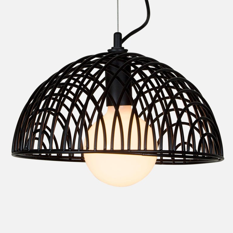 Powder-Coated Dana Pendant Light, Black, Cluster of Three, from Souda, Made to Order For Sale