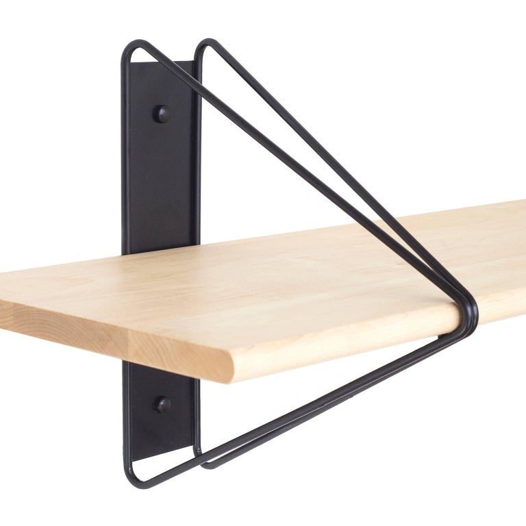 Oiled Customizable Set of 5 Strut Shelves from Souda, Black, Extra long, Made to Order For Sale