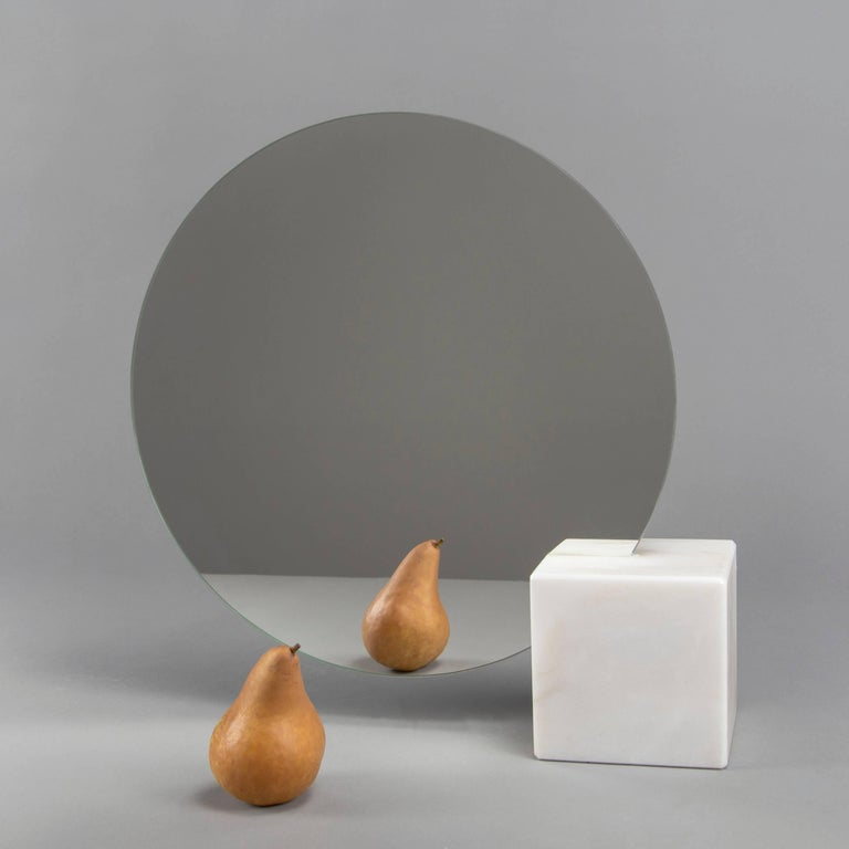 Modern Pi Mirror from Souda, Carrara Marble Table Mirror, in Stock For Sale