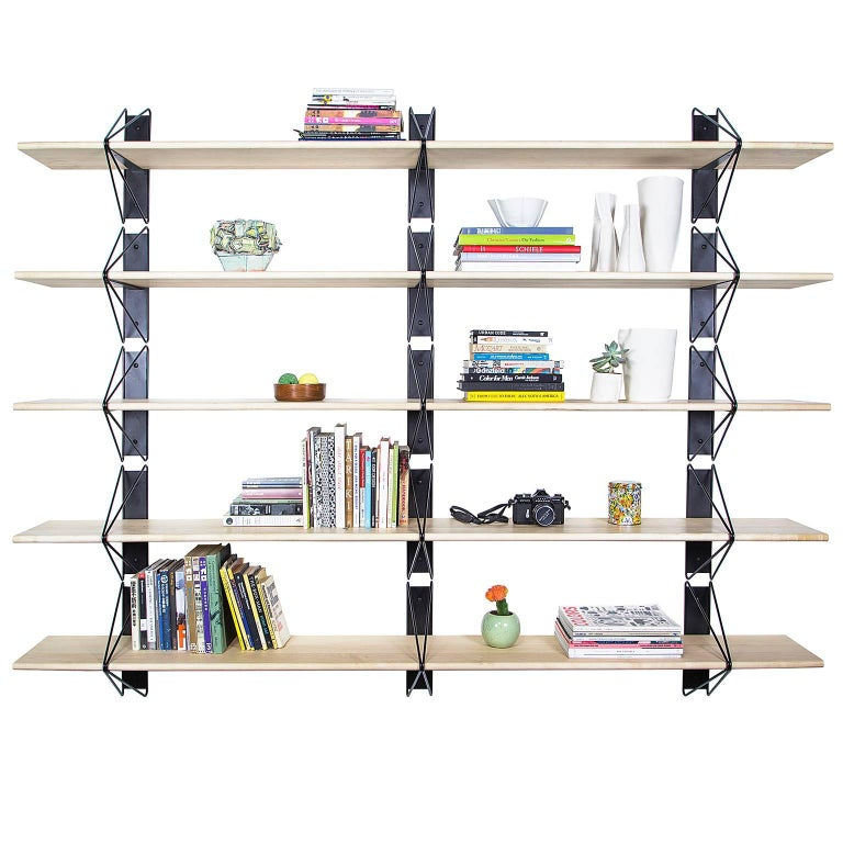 American Customizable Set of 2 Strut Shelves from Souda, Black and Maple, Made to Order For Sale